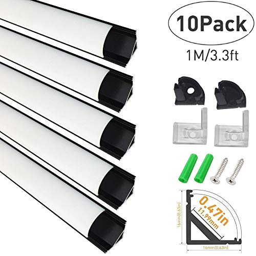 - LightingWill 10-Pack V-Shape LED Aluminum Channel System 3.3ft/1M Anodized Black Corner Mount Extrusion for <12mm Width SMD3528 5050 LED Strips with Milky White Cover, End Caps, Clips V02B10