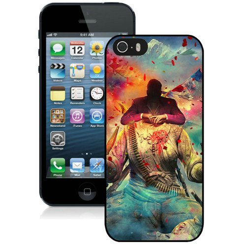 Coque,Fashion Coque iphone 5S Far Cry 4 Game Digital Art Noir Screen Cover Case Cover Fashion and Hot Sale Design
