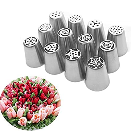 UTEN 12pcs Stainless Steel Russian Piping Nozzles Set DIY Pastry Icing Cake  Decorating Tool (silver): Amazon.in: Home & Kitchen