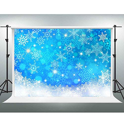 GESEN Blue Backdrop 10x7ft Shiny Snowflakes Photography Background Christmas Baby Shower Background Photo Booth Studio Props PGGE321]()