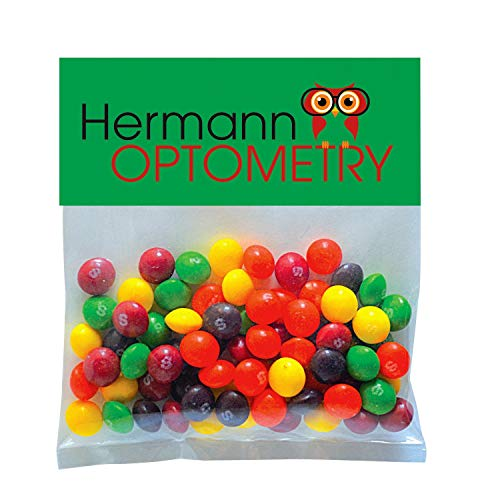 Candy Gift Pack-Skittles with CUSTOMIZED Business Card Magnet in Small Header Pack- BULK Quantities-100, 250, 500 or…