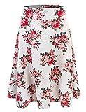 Doublju Womens High Waist Midi A-Line Skirt IVORYROSE Medium