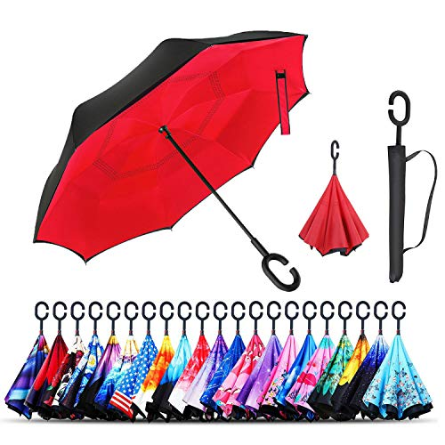 Monstleo Inverted Umbrella,Double Layer Reverse Umbrella for Car and Outdoor Use by, Windproof UV Protection Big Straight Umbrella with C-Shaped Handle and Carrying Bag (red)