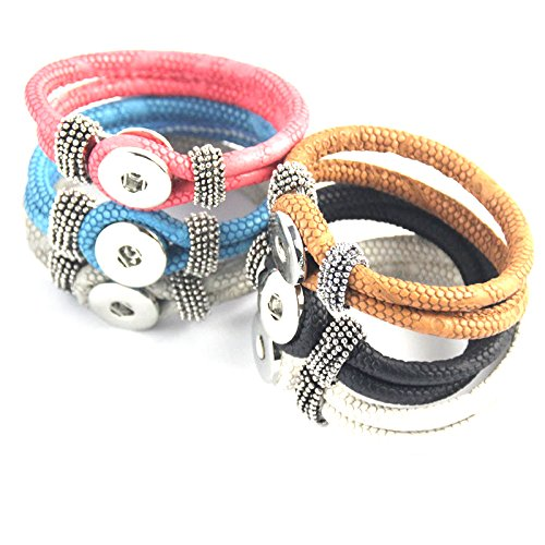 Simple Ever 22cm Multicolors Artificial Leather Bracelets Fit for 5.5mm 18mm Snap Button Charms Pack of 6 SB057