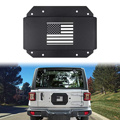 (Sunluway Black Steel Tailgate Vent-Plate Cover for 2018 2019 Jeep Wrangler JL Spare Tire Tramp Stamp Tire Carrier Delete Mild Steel Trim(US Flag))