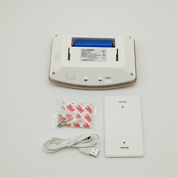 INCHANT USB recargable de aluminio del sensor de movimiento 10 LED lámpara de pared de luz, palo-en cualquier lugar lámpara de pared, luz de seguridad de ...