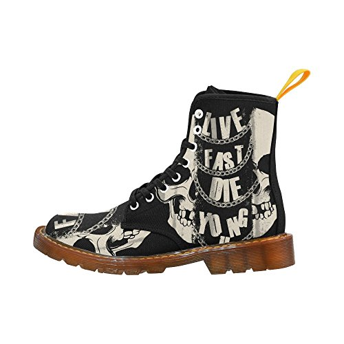 InterestPrint Skull Flips The Bird Print Lace Up Boots For Men Skull 2 qYZ9IWY3z