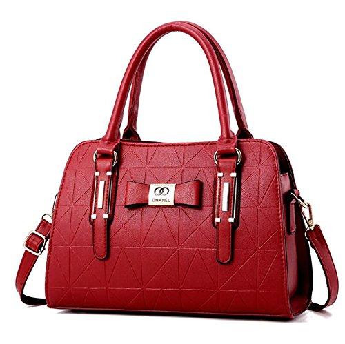 HQYSS Bolsos para mujer Las mujeres de cuero PU negocio hombro Messenger Bag ligero ajustable bolso , purple wine red