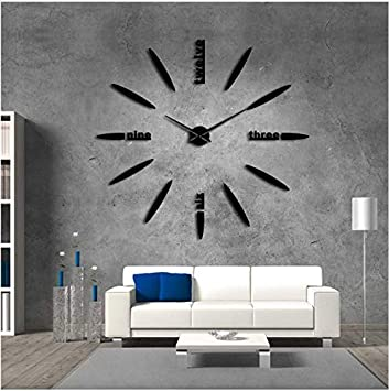 QUTICL 1 Piece DIY Gigante Reloj de Pared Simple Reloj Moderno DIY 3D Espejo Letras Inglesas