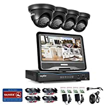 SANNCE 8CH 720P Video Monitoring System with 1080N 10.1'' LCD Combo DVR Recorder and (4) Surveillance Cameras Support P2P Technology, QR Code Scan Phone Remote Access Viewing -No HDD