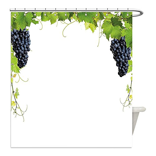 Bunch Of Grapes Costume Ideas (Liguo88 Custom Waterproof Bathroom Shower Curtain Polyester Grapes Home Decor Wine Leaf with Loose Bunch of Large Berries Tannin Breed French Village Green Black Decorative bathroom)