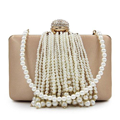 Bag Clutch Bags Beaded GSHGA Handbag Body Clutches Satin Cross Pearl Evening Totes Gold Purse Tassel Women Yt8x8COwSq