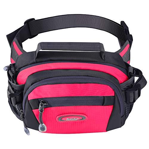 Y&R Direct Fanny Pack Waist Bag Packs Large Running Belt Bum Purse Bags with Bottle Holder Extension Strap Women Men Boy Girls Kids Gifts Waterproof Multicolor Outdoor Walking Hiking (Rosered)