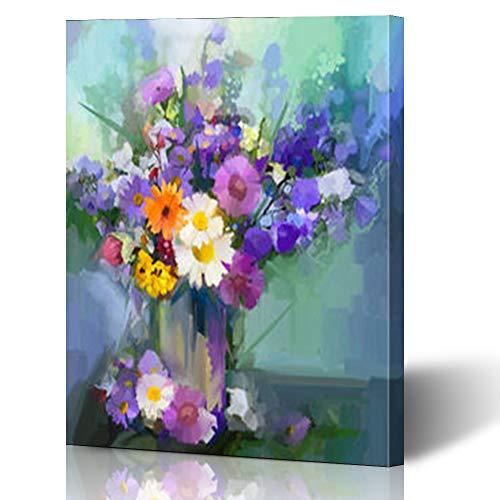 Flowers Vase Life Floral Still (Krezy Decor Canvas Print Wall Art 16