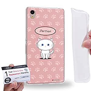Case88 [Sony Xperia Z3+ / Z4] Gel TPU Carcasa/Funda & Tarjeta de garantía - Art Hand Drawing Persian Cartoon Kitten 1276