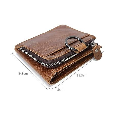 C-Xka Mens Wallet Leather Retro Leather Short Card Slot Detachable Wallet Cross Section Zipper Oil Wax Wallet Purse Color : Brown
