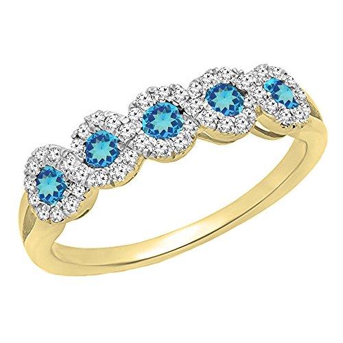 10K Yellow Gold Round White Diamond & Blue Topaz Wedding Stackable Band (Size 5)