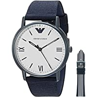 Emporio Armani Men's Stainless Steel Japanese-Quartz Watch with Nylon Strap, Blue, 22 (Model: AR80005