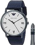 Emporio Armani Men's Quartz Stainless Steel and Nylon Dress Watch, Color:Blue (Model: AR80005)