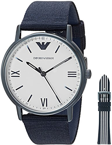 (Emporio Armani Men's Quartz Stainless Steel and Nylon Dress Watch, Color Blue (Model: AR80005))