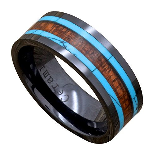 Men's Black Ceramic Ring, Hawaiian Koa Wood, Turquoise Inlay, 9mm Wide Comfort Fit Wedding Band (14)