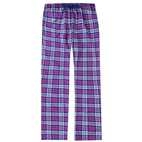 (Noble Mount Women's Cotton Lightweight Flannel Lounge Pants - Plaid Fuschia-Purple - XL)
