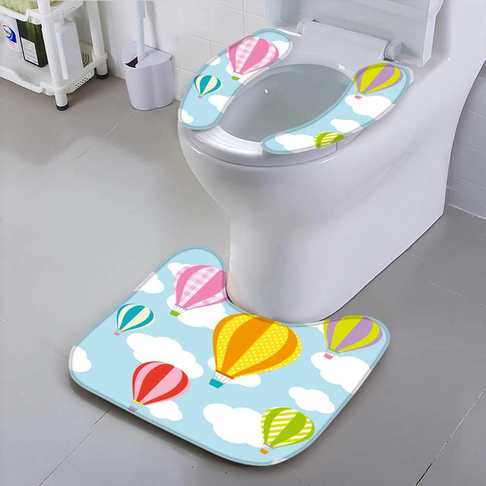 Jiahonghome Toilet seat Cover Vector of hot air Balloons Blue Sky of t Soft Non-Slip Water