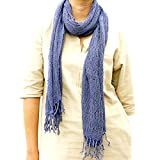 Taruron Woven Net Cotton Plain or Multi Colors Summer fashionable Scarf (Navy Blue)