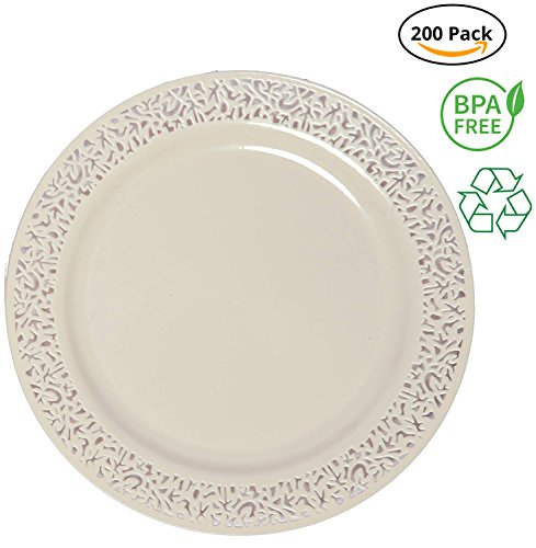 Party Joy 'I Can't Believe It's Plastic' 200-Piece Plastic Salad Plate Set | Lace Collection | Heavy Duty Premium Plastic Plates for Wedding, Parties, Camping & More (Ivory)