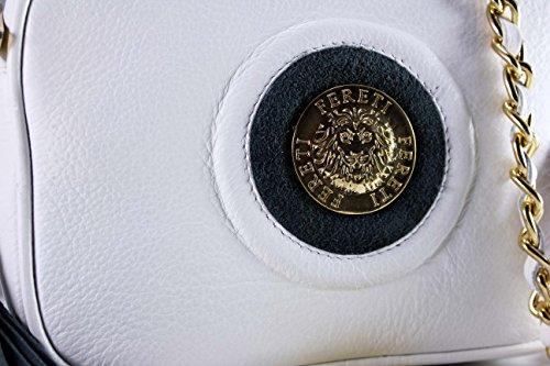 FERETI Borsa a tracolla piccola vera pelle Bianco e Blu catena d'oro con nappa e Leone Fereti