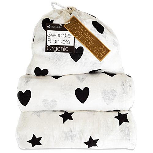 Kaydee Baby Organic Muslin Cotton Swaddle Blankets - Set of 2 - 47x47 Inch Large...