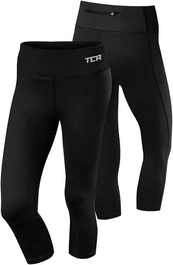 TCA Pro Performance Supreme Womens 3//4 Capri Running Tights Black