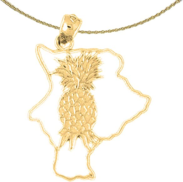 Jewels Obsession 14K White Gold I Love Kona Pendant 16 mm