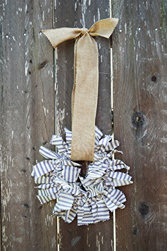 (Fabric Rag Wreath for the rustic inspired home - small blue and white ticking fabric wreath - nautical)