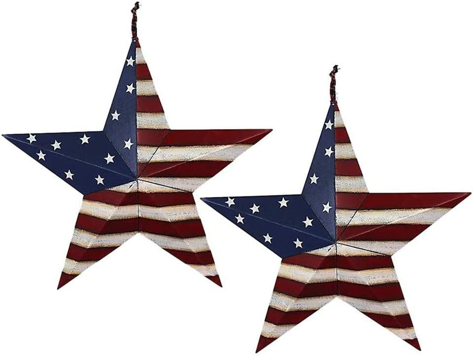 Metal Barn Star Set Patriotic Home Decor Primitive Indoor Outdoor Wall Art 2 Pcs Rustic Hanging Stars Decorations for Walls Fence Porch House July of 4th Decoration (12