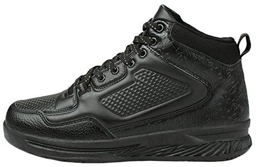 Mens Léger Lacet Casual Campus Mode Sneaker Noir_8639
