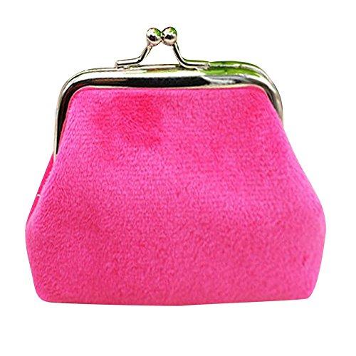 (Radorock Womens Corduroy Small Wallet Holder Coin Purse Clutch Handbag Bag (Hot Pink))