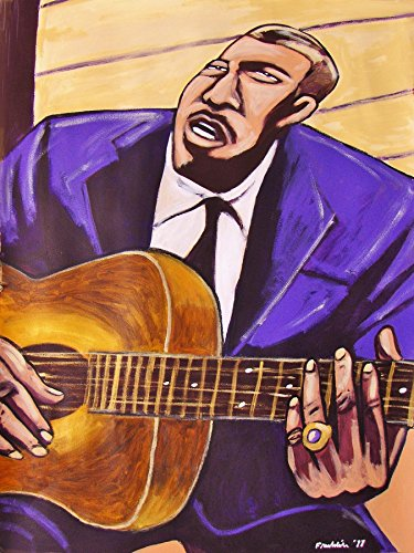 BLIND WILLIE McTELL ORIGINAL PAINTING-man cave art-atlanta 12 guitar-cd record album vinyl lp-folk blues early years