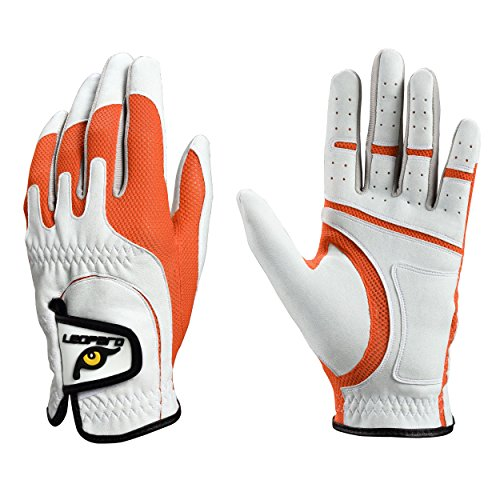 (Leopard Junior Kids Youth Toddler Boys Girls Golf Gloves Premium Synthetic Leather LH Golf Glove One Size Fits All (Orange, Regular (3-7 y/o)))