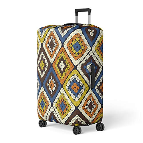 Semtomn Luggage Cover Granny Squares Pattern and Ripples Afghan Crochet of Multicolored Travel Suitcase Cover Protector Baggage Case Fits 18-22 Inch