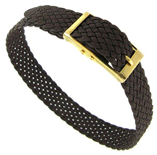 10mm Milano Slide Through Sports Wrap Nylon Textile Braided Dark Brown Watch Band Strap