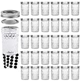 VERONES Mason Jars Canning Jars, 8 OZ Jelly Jars With Regular Lids and Bands, Ideal for Jam, Honey, Wedding Favors, Shower Favors, Baby Foods, 30 PACK