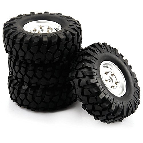 Yiguo 4pcs 108mm RC Tires Tyre and Aluminum Wheel Rims for 1/10 Scale HPI Redcat Climbing Car Silver