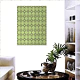 """Mid Century Stickers Wall Home Atomic Form Boomerang Details Dots Crossed Lines Fashion Stickers Wall 20""""x28"""" Apple Green Plum Bondi Blue"""
