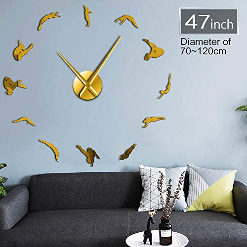 GUDOJK High Dive Sports Wall Art Home Decor Clock Watch Divers Diving Silhouette DIY Stickers Frameless Large Wall Clock Divers Gift 37inch ()