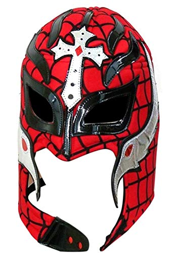 Del Mex Lycra Lucha Libre Adult Luchador Mexican Wrestling Mask Costume (Rey Mysterio (Black/Red)) -