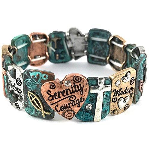 Western Collection Serenity Courage Wisdom Prayer Bible Heart Cross Stretch Bracelet (Patina) (Heart Serenity Prayer)