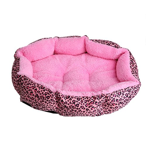 Wivily Leopard Pet Dog Cat Bed, Cushion Soft Warm Kennel Dog Mat Blanket House (Pink)