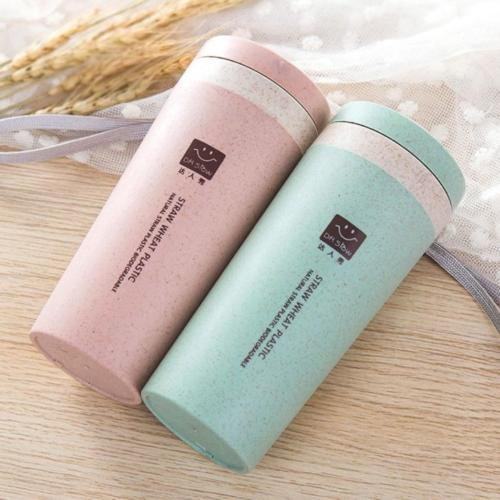 MAZIMARK-Travel Mug Coffee Couples Bottle Cups Straw Wheat Plastlc Non-toxic Cup Office (pink) by MAZIMARK