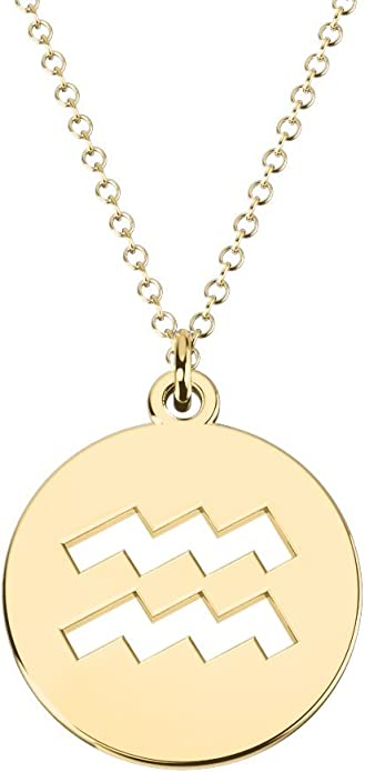 14K Gold Aquarius Zodiac Symbol Cutout Disc Necklace by JEWLR